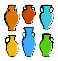 multicolored amphoras icons - images with copy vector image
