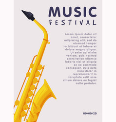 music festival banner with saxophone musical vector image