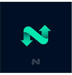 n monogram green ribbon arrows network icon vector image