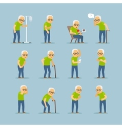 Old man sick icons vector