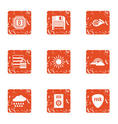 Online coin icons set grunge style vector