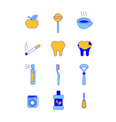 oral hygiene dental thin line icons vector image