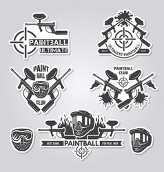 paintball labels sport badges active games with vector image