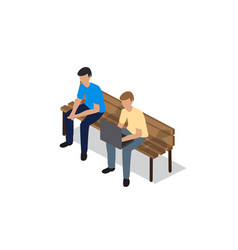 people sitting on a bench vector image