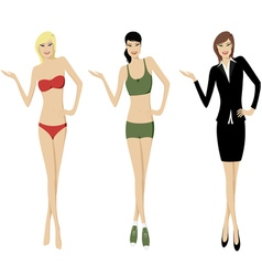 presenting girls vector image