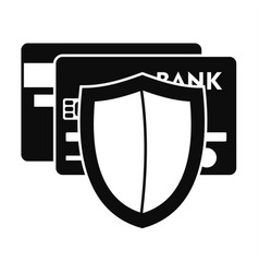 Protected credit card icon simple style vector