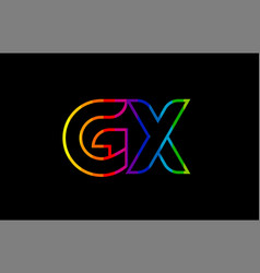 rainbow color colored colorful alphabet letter gx vector image