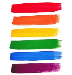 Rainbow watercolor brush strokes vector