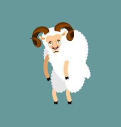 Ram sad sheep farm animal sorrowful emoji vector