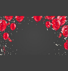 red white balloons confetti concept design with vector image