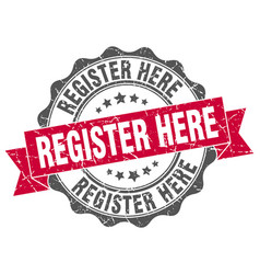 Register here stamp sign seal vector