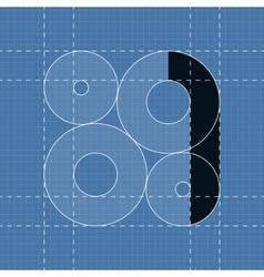 Round engineering font Symbol 1 vector image
