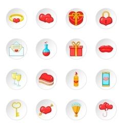 Saint Valentine day icons set vector image