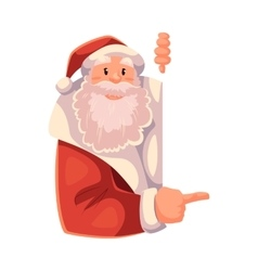 Santa Claus looking from behind the wall and vector