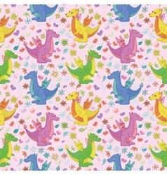 Seamless pattern cartoon Dragons vector image