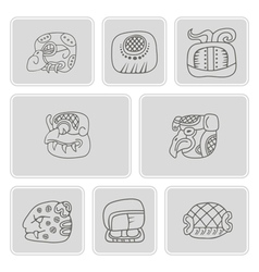 Set monochrome icons with glyphs vector