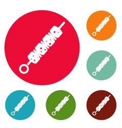 shish kebab icons circle set vector image
