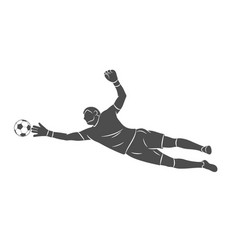 silhouette football goalkeeper is jumping for the vector image