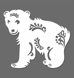 Silhouette of a cute ice bear with tribals vector