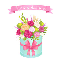 Spring bouquet of rose flowers pink red and white vector
