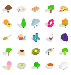 Street cafe icons set isometric style vector