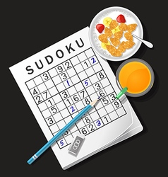 Sudoku game with cereal bowl and orange juice vector