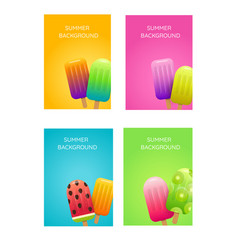summer backgrounds with fruit ice cream vector image