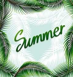 Summer theme background with green leaves vector