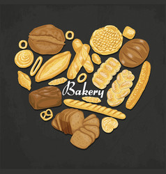The isolated heart of colored bakery products vector