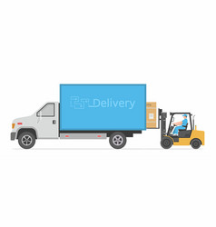 truck and forklift vector image