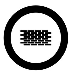 wall the black color icon in circle or round vector image
