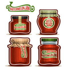 Watermelon jam in jars vector