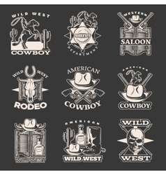 Wild West Emblem Set On Dark vector image
