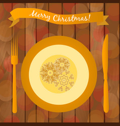 with golden plate on the table vector image
