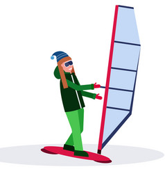 woman windboarder holding sail girl windboarding vector image
