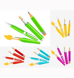 Writing tool collection vector image