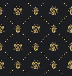 baroque vintage background with golden ornament vector image