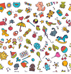 doodle children background seamless pattern for vector image vector image
