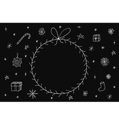 Hand drawn christmas frame on dark background vector image vector image