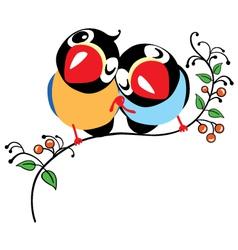pair of cartoon birds vector image vector image
