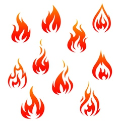 Set of fire flames isolated on white vector image vector image