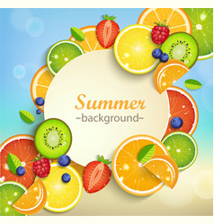 Summer background with tropical fruits vector image vector image