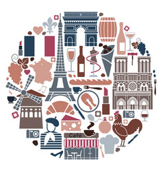 symbols of france in the form of a circle vector image vector image