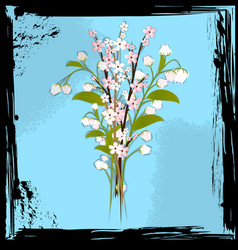 abstract blue and bouquet of flowers vector image vector image
