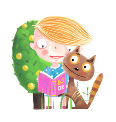 baby girl reading to cat vector image vector image
