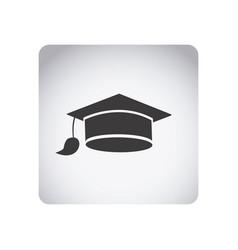 gray emblem graduation hat icon vector image