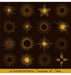 Sunbursts and Stars - hand-drawn vector image vector image