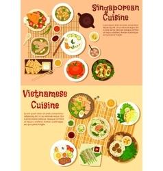 Vietnamese and singaporean cuisine flat icon vector image