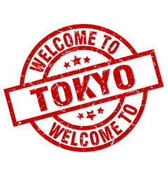 welcome to tokyo red stamp vector image