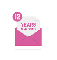 12 years anniversary icon in open letter vector image vector image